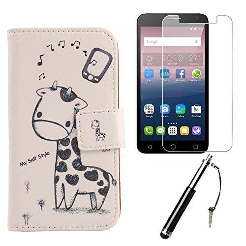 Lankashi 3in1 Set Giraffe PU Flip Leder Tasche Für Alcatel One Touch Pop 4 Plus 5.5