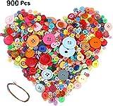 Hoiny 900 Stück Bunte Knöpfe, Kunststoff Bastelknöpfe, Puppenknöpfe - rund, gemischte Größen & Farben zum Basteln Nähen Kinder DIY Basteln Painting Geschenk Deko
