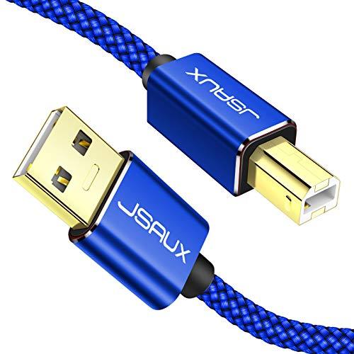 JSAUX Cable Impresora [2M] Cable Impresora USB Tipo B 2.0 Compatible para Impresora HP, Epson,Canon,Brother,Lexmark,Escáner,Disco Duro,Fotografía Digital y Otros Dispositivos-Aluz