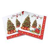 Tovaglioli natalizi,60 pezzi Tavoli Decorazioni tovaglioli stampati Babbo Natale Alce Natale Tovaglioli di carta usa e getta Asciugamano per ospiti per forniture per feste di Natale (13 x 13 pollici)