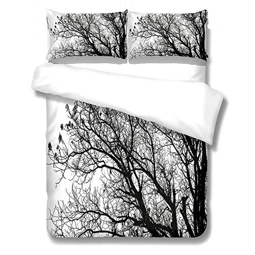 GloEnjoy 3 Pieces Duvet Cover Set – Duvet Cover and Two Pillow Cases Microfibre 3D Digital Print Three-Piece Set, Ultra Soft Microfiber Bedding - 3D Branch,Super king Size 260 x 220cm