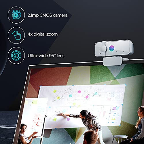 Lenovo™ 300 FHD Webcam with Full Stereo Dual Built-in mics   FHD 1080P 2.1 Megapixel CMOS Camera  Ultra-Wide 95° Lens   360° Rotation   Flexible Mount (GXC1B34793)