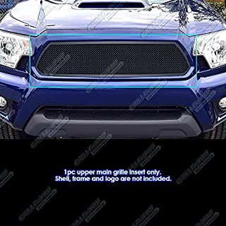 APS Compatible with 2012-2015 Toyota Tacoma Upper Stainless Steel Black Mesh Grille T76971H