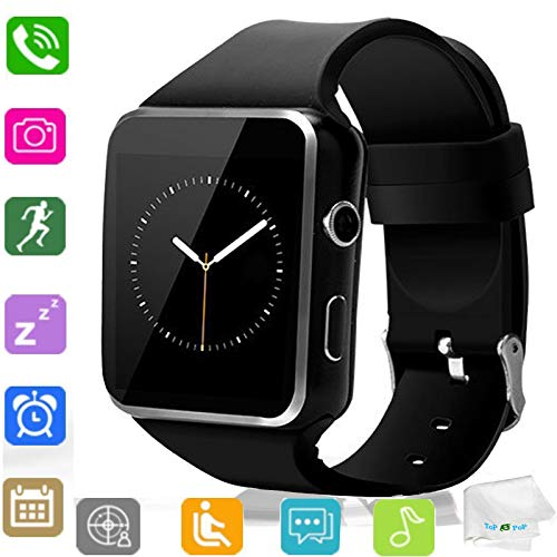 Smart Watch Bluetooth Wrist Watch Touch Screen Smartwatch with SIM Card Slot Women Men Smart Watches Sync Call Music Unlocked Watch Compatible Android Samsung Note 8 9 10 Huawei LG Ios Phones Black