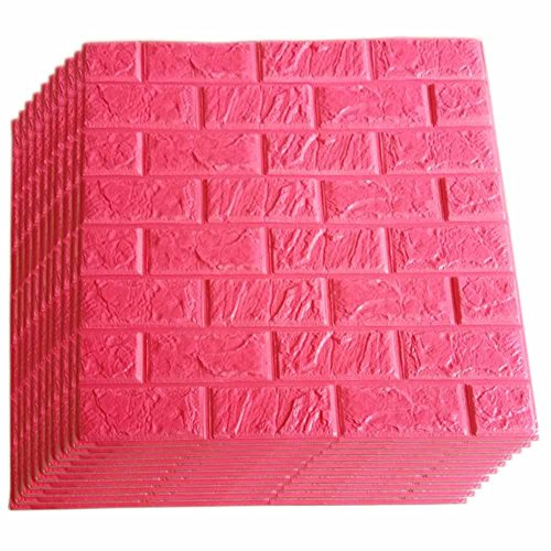 Red Foam Brick Wall Panels, 3D Foam Brick Peel And Stick Wallpaper Self-adhesive Removable Wall Decor for TV Background, Kids Children Girl Room, Bedroom, Kindergarten/ 10PACk