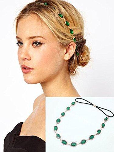 Yean Kopf Kette Haar Zubehör Bohemian-Stil für Frauen und Mädchen (grün)