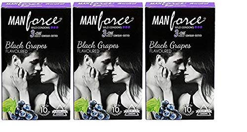 Manforce 3 in 1 Wild Ribbed Contour Dotted Black Grapes Flavored Condoms For Men,30 Condoms