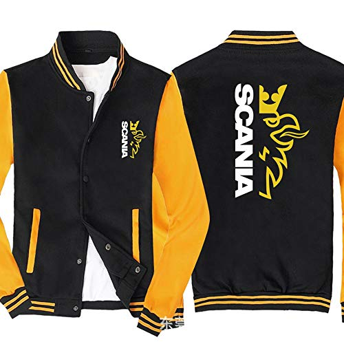 Männer Pullover Jacke - Scania Printed Sweatshirt Baseball-Trikot Langarm-Zip Trainingsjacken - Teen Gift Black Yellow-XXL