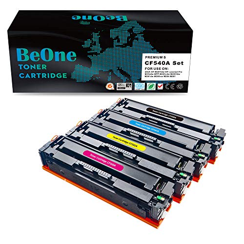BeOne® Toner kompatibel zu CF540A CF540X CF541A CF542A CF543A 203A für Color Laserjet Pro MFP M281fdw M281fdn M280nw M254nw M254dw