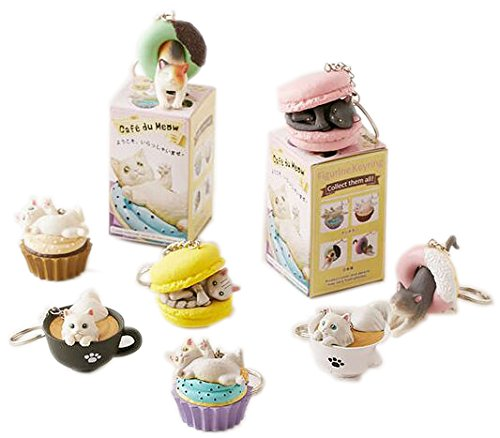 Clever Idiots Cafe du Meow Dessert Cat Keychain - Blind Box Includes 1 of 8 Collectable Figurines - Features a Detachable Keyring - Authentic Japanese Design - Durable Plastic