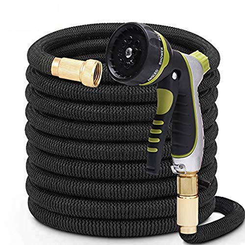 50FT Expandable Garden Hose with 8 Function Nozzle No Kink Flexible bility Extra Strength with 3/4 Inch Solid Brass Fittings & Double Latex Core Rot Crack Leak Resistant Soaker Hose