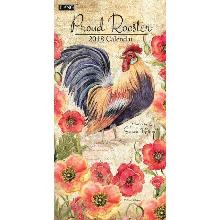 """LANG - 2018 Vertical Wall Calendar -""""Proud Rooster"""", Artwork by Susan Winget - 12 Month, Open Size 7.75"""" x 15.5"""""""