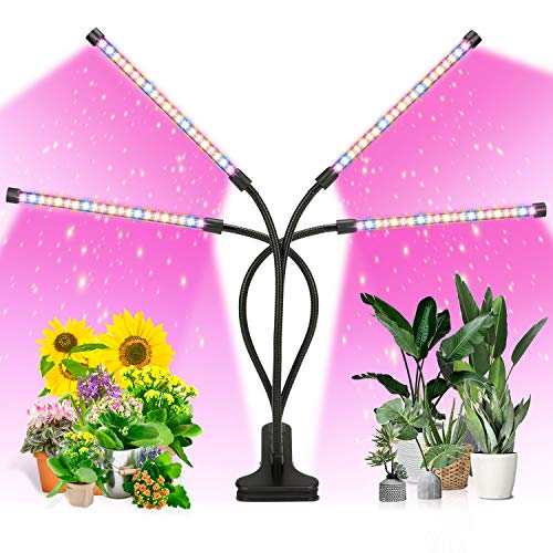 ANKACE LED Grow Light, Timing, 5 Dimmable Levels, Plant Grow Light for Indoor Plant with Full Spectrum & Red Blue Spectrum, Adjustable Gooseneck, 3 6 12H Timer, 3 Switch Modes
