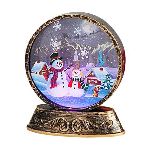 FunAloe Weihnachten Schneekugeln,Weihnachtslaterne,Kleine Schneekugel Sortiert Weihnachtsdekoration Designs Handwerk Dekorative Leuchtende Weihnachten mit 1PC-Taste Batterie (A)