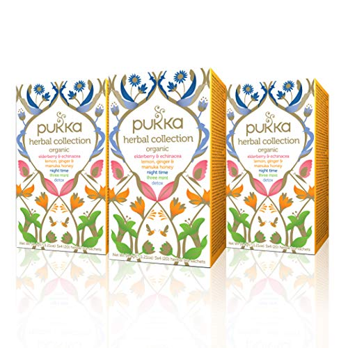 Pukka Herbs Herbal Collection, Selection of Five Organic Herbal Teas, 60 Count (Pack of 3)