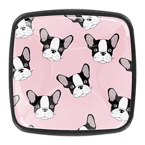 [4 unidades] pomos de armario de cocina sólidos cuadrados, tiradores de cajón, diseño de cabeza de bulldog fondo rosa