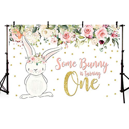 MEHOFOTO 8x6ft Bunny Girl One Birthday Party Backdrop Spring Pink Floral Glitter Gold Rabbit Some Bunny One Girl Happy 1st Birthday Photography Background Photo Banner Easter Poster