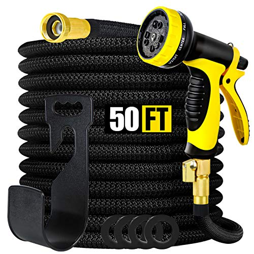 Smartland Expandable Garden Hose 50 FT, 10 Function Nozzle and 3/4'' Solid Brass Setting, Durable 4-Layers Latex, Leakproof Lightweight Water Hoseproof Lightweight Water Hose