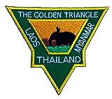 The Golden Triangle Patch (8,9 cm) bestickter Aufbügel/Aufnähabzeichen Thailand, Laos, Myanmar Trekking Reiseabzeichen Elefant Trek Souvenir