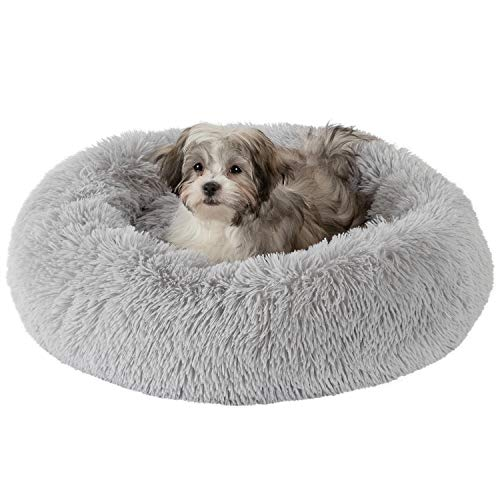 GM PET SUPPLIES Donut Cuddler Dog Bed - Calming Orthopedic Round Pet Bed for Dogs and Cats - Fluffy Faux Fur Dog Bed with Anti Slip Bottom for Small, Medium, and Large Dogs - Machine Washable