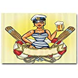 Girly Decor Party Decoration No Frame Pin Up Sexy Sailor Girl in Lifebuoy with Captain Hat and Costume Glass of Beer Feminine Design Bridesmaids Gifts for Wedding Multi L24 x H48 Inch