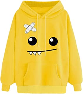 302686ff05b7 Sudaderas Adolescentes Chicas, Fossen Sudaderas Mujer Tumblr con Capucha -  Emoticon Estampado Camiseta Blusa Tops