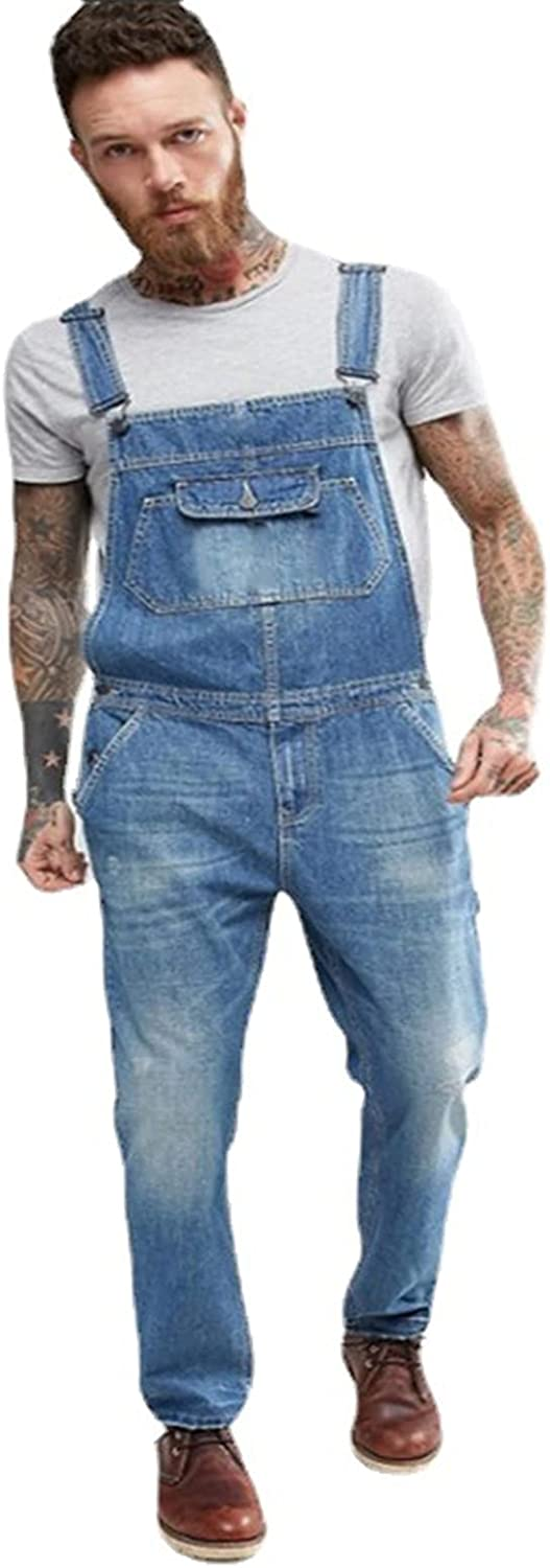 YUIJ Men's Jeans Casual Denim Overalls,Strappy Trousers Mens Garmenting,Slim with Multiple Pockets