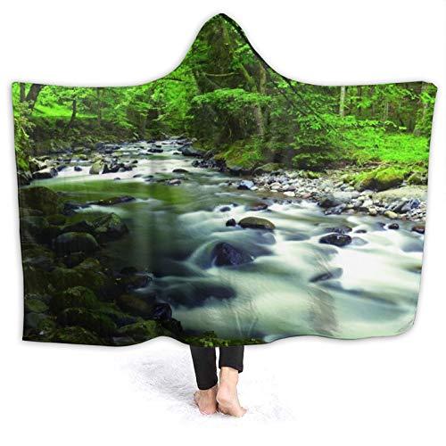JISMUCI Manta con Capucha,Corriendo el cauce del río en el Bosque con Rocas árboles Ramas de montaña arbustos Naturaleza,Suave Siesta ponible Mantas de Viaje/Vacaciones/Casual 80x60