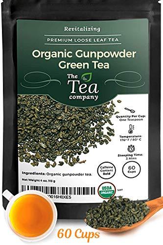 Organic Gunpowder Green Tea 60 Servings Green Loose Leaf Tea Rolled Into Pinhead Pellets Antioxydant & Caffeinated by The Tea Company 4oz