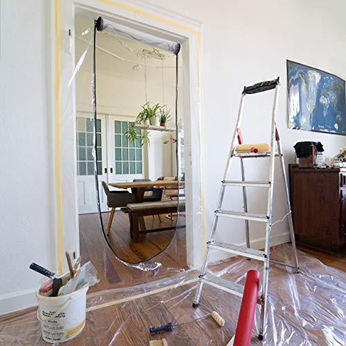 ONEST Staubschutztür (2er Set) - Premium Staubschutzwand mit 2-seitigem Reisverschluss inkl. Klebeband & Fixierungshilfe - Für Türmaße bis 2,11 x 1,10m