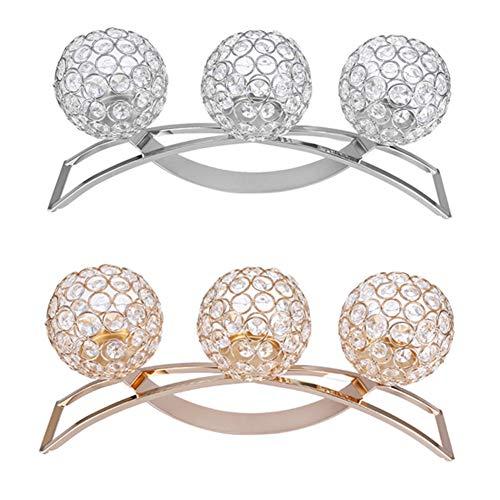 sjlerst Crystal Candlestick, Elegant Dinner Candlestick, 3 Arms for Weddings, Birthdays, Celebrations(Silver)