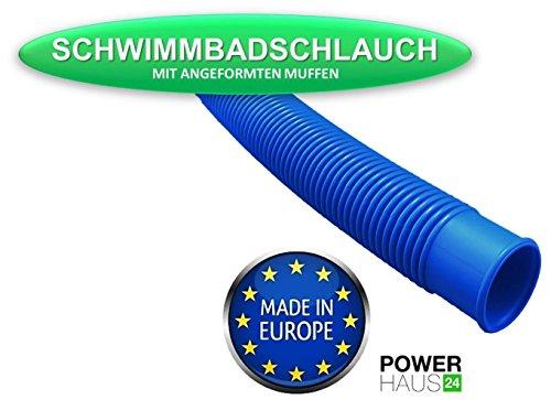 """Medipool 6,00m Schwimmbadschlauch 38mm (6/4\"""") Blauer Schlauch für Schwimmbad Schwimmbecken Pool Gartenpool Poolschlauch"""