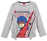 Ladybug Niñas Camiseta de Manga Larga (Gris Claro,5 años)