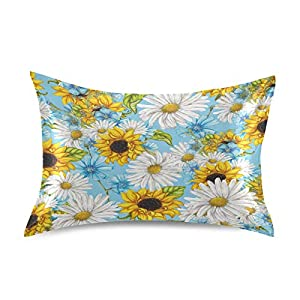 """Blueangle Summer Flowers Pattern Pillowcase with Envelope Closure for Hair and Skin, Soft Breathable Smooth Both Sided Silk Pillow Cover(Standard 20""""×26"""",1pcs)"""