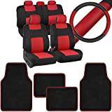 Front & Rear Combo Set of 4 Piece Brite MATS Auto Carpet Floor Mats with PolyPro Car Seat Covers & Steering Wheel Cover, Universal Fit for Car Truck Van SUV, Colorful Outline Design Floor Liners