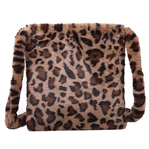 Bolso de Hombro con Estampado de Leopardo para Mujer Gran Capacidad Bolso Bandolera de Felpa Mullido Bolsos Totes de Moda para Compras, Viaje, Fiesta (Marrón)