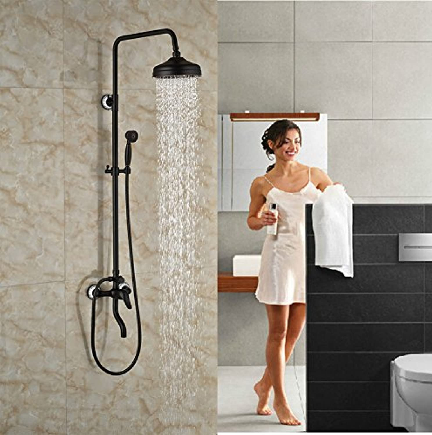 Oil Rubbed Broze Shower Set Wall Mounted Single Lever With Hand Shower Faucet,schwarz
