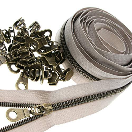 5# cremalleras de nailon metálico de latón antiguo por yarda a granel de 10 yardas de cinta beige con 25 deslizadores de latón para coser bricolaje bolsa de manualidades Leekayer