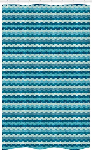 ABAKUHAUS Abstrakt Schmaler Duschvorhang, Meereswellen aquatisch, Badezimmer Deko Set aus Stoff mit Haken, 120 x 180 cm, Türkis Teal