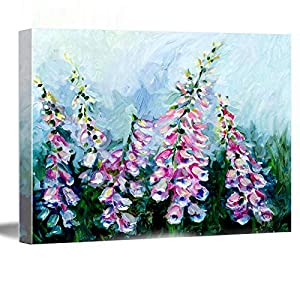 "Large Wall Decor For Living Room ,room decor wall ,wall decor canvas ,Foxgloves Botanical Painting Oil Floral Art, Flower Decor, 8""x12"" Framed Modern Canvas Wall Art,"