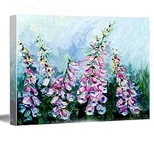 Silk Flower Arrangements Large Wall Decor For Living Room ,room decor wall ,wall decor canvas ,Foxgloves Botanical Painting Oil Floral Art, Flower Decor, 8''x12'' Framed Modern Canvas Wall Art,