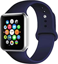 BOTOMALL Compatible with Iwatch Band 38mm 40mm 42mm 44mm Classic Silicone Sport Replacement Strap Bracelet for Iwatch All Models Series 4 Series 3 Series 2 1 S/M M/L (Midnight Blue, 42/44mm M/L)