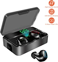 Bluetooth Wireless Earbuds, KUNGIX Bluetooth Headphones, 3000mAh Sweatproof 90H Playtime Noise Cancelling Mini Earbuds, Deep Bass 3D Stereo Sound Earphones with Built-in Mic Earbuds for Android Iphone