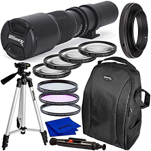 Ultimaxx Pro 500mm f/8 Manual Multi-Coated Preset Telephoto Lens Kit for Canon EOS Rebel T3, T3i, T4i, T5, T5i, T6, T7 T6i, T6s, T7i, SL1, SL2, 60D, 70D, 77D, 80D, 5D III, 5D IV, 6D, 7D, 7D II & More