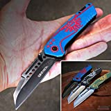 KCCEDGE BEST CUTLERY SOURCE EDC Pocket Knife Camping Accessories Hunting Knife Razor Sharp Edge Folding Knife for Camping Gear Survival Kit Tactical Knife 56003 (Blue)
