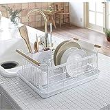 BOKYWOX Modern Wood Handle Dish Racks White 16.3' x 11.8' x 8.5' Kitchen Plate Cup Dish Drying Rack Tray Cutlery Dish Drainer