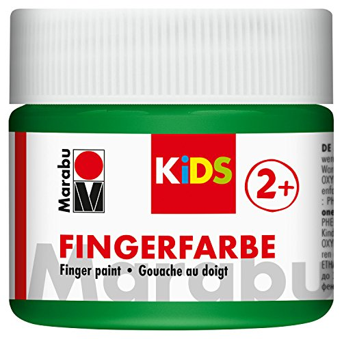 Marabu 03030050267 - Kids Fingerfarbe grün 100 ml, Fingermalfarbe auf Wasserbasis, parabenfrei, vegan, laktosefrei, glutenfrei, geeignet zum Malen in Kindergarten, Schule, Therapie und zu Hause