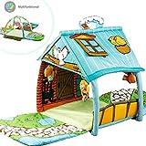 3 in 1 XXL Krabbeldecke mit Spielbogen Spielhaus für kleine Kinder Babies Krabbelspaß Gymcenter Dominiti Spielmatte Spieldecke