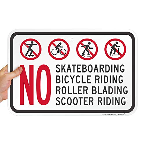 """SmartSign """"No Skateboarding, Bicycle, Scooter, Rollerblading"""" Sign 
