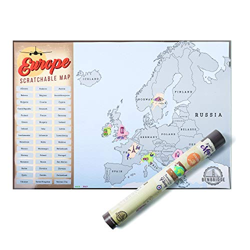 Benbridge, Mappa da Grattare dell'Europa, Cartina Geografica da Parete dell'Europa con Icone, Made in Italy, Idee Regalo per Viaggiatori, Poster da Parete, Dimensioni 41 x 60 cm